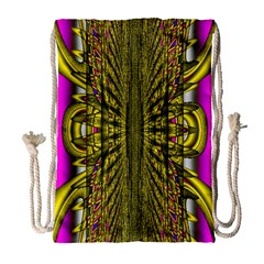 Fractal In Purple And Gold Drawstring Bag (Large)