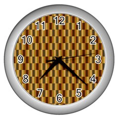 Gold Abstract Wallpaper Background Wall Clocks (Silver)