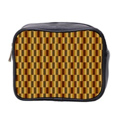 Gold Abstract Wallpaper Background Mini Toiletries Bag 2 Side