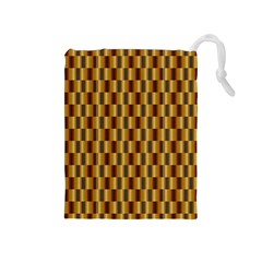 Gold Abstract Wallpaper Background Drawstring Pouches (Medium)