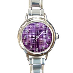 Purple Wave Abstract Background Shades Of Purple Tightly Woven Round Italian Charm Watch