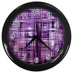 Purple Wave Abstract Background Shades Of Purple Tightly Woven Wall Clocks (Black)