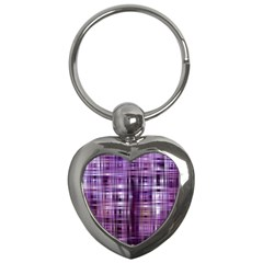 Purple Wave Abstract Background Shades Of Purple Tightly Woven Key Chains (heart)
