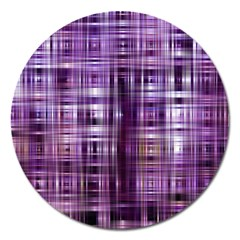 Purple Wave Abstract Background Shades Of Purple Tightly Woven Magnet 5  (Round)