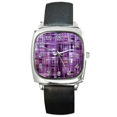 Purple Wave Abstract Background Shades Of Purple Tightly Woven Square Metal Watch