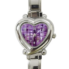 Purple Wave Abstract Background Shades Of Purple Tightly Woven Heart Italian Charm Watch
