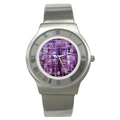 Purple Wave Abstract Background Shades Of Purple Tightly Woven Stainless Steel Watch