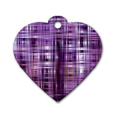 Purple Wave Abstract Background Shades Of Purple Tightly Woven Dog Tag Heart (one Side)