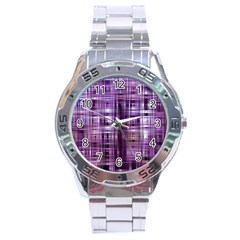 Purple Wave Abstract Background Shades Of Purple Tightly Woven Stainless Steel Analogue Watch