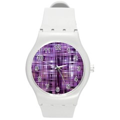 Purple Wave Abstract Background Shades Of Purple Tightly Woven Round Plastic Sport Watch (m)