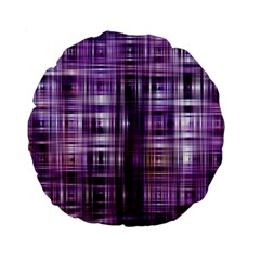 Purple Wave Abstract Background Shades Of Purple Tightly Woven Standard 15  Premium Round Cushions