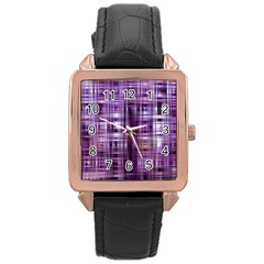 Purple Wave Abstract Background Shades Of Purple Tightly Woven Rose Gold Leather Watch