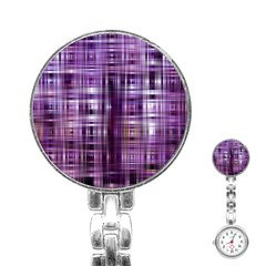 Purple Wave Abstract Background Shades Of Purple Tightly Woven Stainless Steel Nurses Watch