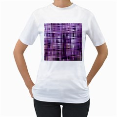 Purple Wave Abstract Background Shades Of Purple Tightly Woven Women s T-Shirt (White)