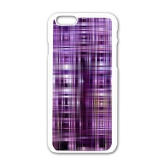 Purple Wave Abstract Background Shades Of Purple Tightly Woven Apple Iphone 6/6s White Enamel Case