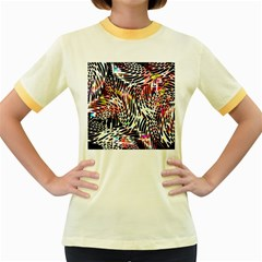 Abstract Composition Digital Processing Women s Fitted Ringer T Shirts