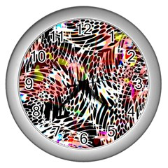 Abstract Composition Digital Processing Wall Clocks (silver)