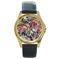 Abstract Composition Digital Processing Round Gold Metal Watch