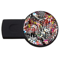Abstract Composition Digital Processing USB Flash Drive Round (2 GB)