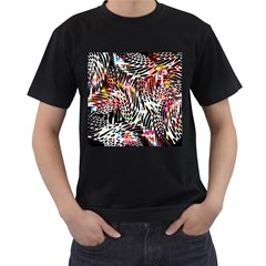 Abstract Composition Digital Processing Men s T Shirt (black) (two Sided)