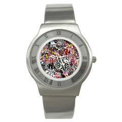 Abstract Composition Digital Processing Stainless Steel Watch