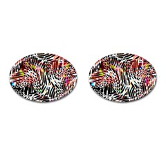 Abstract Composition Digital Processing Cufflinks (Oval)