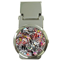 Abstract Composition Digital Processing Money Clip Watches