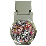 Abstract Composition Digital Processing Money Clip Watches Front