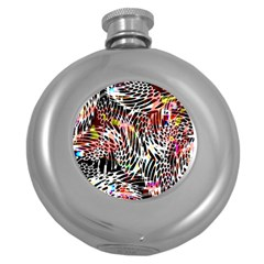 Abstract Composition Digital Processing Round Hip Flask (5 oz)
