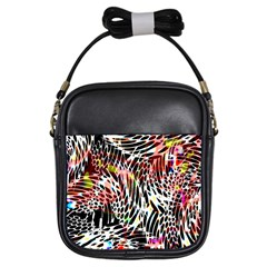 Abstract Composition Digital Processing Girls Sling Bags