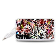 Abstract Composition Digital Processing Portable Speaker (White)