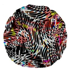 Abstract Composition Digital Processing Large 18  Premium Round Cushions