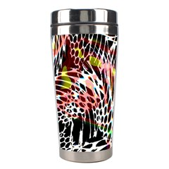 Abstract Composition Digital Processing Stainless Steel Travel Tumblers