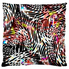 Abstract Composition Digital Processing Large Flano Cushion Case (One Side)