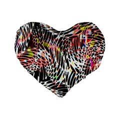 Abstract Composition Digital Processing Standard 16  Premium Flano Heart Shape Cushions