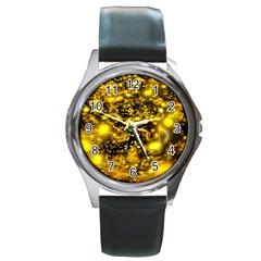 Vortex Glow Abstract Background Round Metal Watch