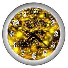 Vortex Glow Abstract Background Wall Clocks (silver)