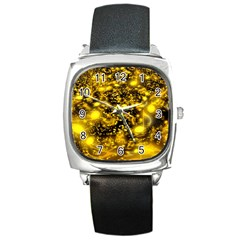 Vortex Glow Abstract Background Square Metal Watch