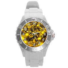 Vortex Glow Abstract Background Round Plastic Sport Watch (L)