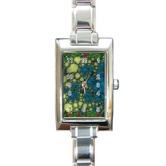 Holly Frame With Stone Fractal Background Rectangle Italian Charm Watch