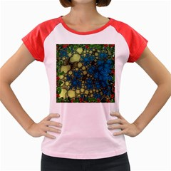 Holly Frame With Stone Fractal Background Women s Cap Sleeve T Shirt