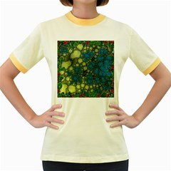 Holly Frame With Stone Fractal Background Women s Fitted Ringer T-Shirts