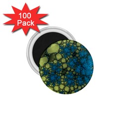 Holly Frame With Stone Fractal Background 1 75  Magnets (100 Pack)