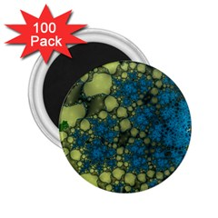 Holly Frame With Stone Fractal Background 2.25  Magnets (100 pack)