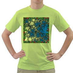 Holly Frame With Stone Fractal Background Green T-Shirt