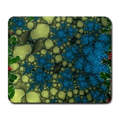 Holly Frame With Stone Fractal Background Large Mousepads