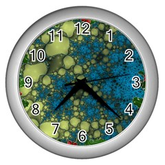 Holly Frame With Stone Fractal Background Wall Clocks (silver)