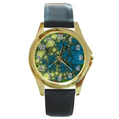 Holly Frame With Stone Fractal Background Round Gold Metal Watch