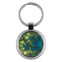 Holly Frame With Stone Fractal Background Key Chains (Round)