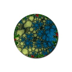 Holly Frame With Stone Fractal Background Rubber Coaster (Round)